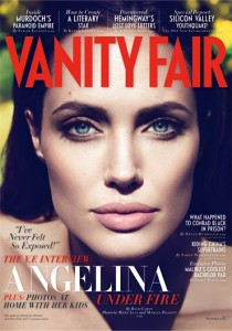 makeup style of angelina jolie on vanity fair magazine cover