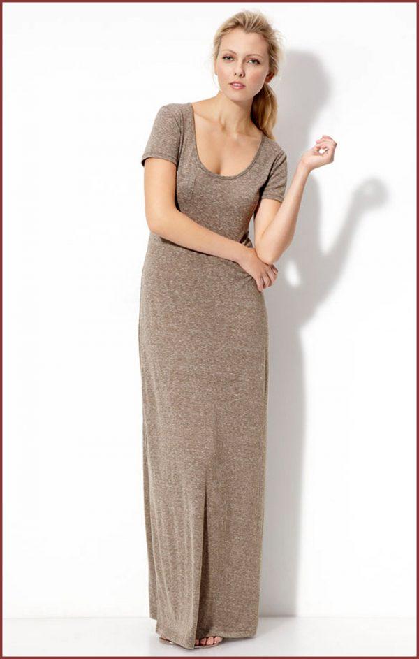 V cut long dresses knit