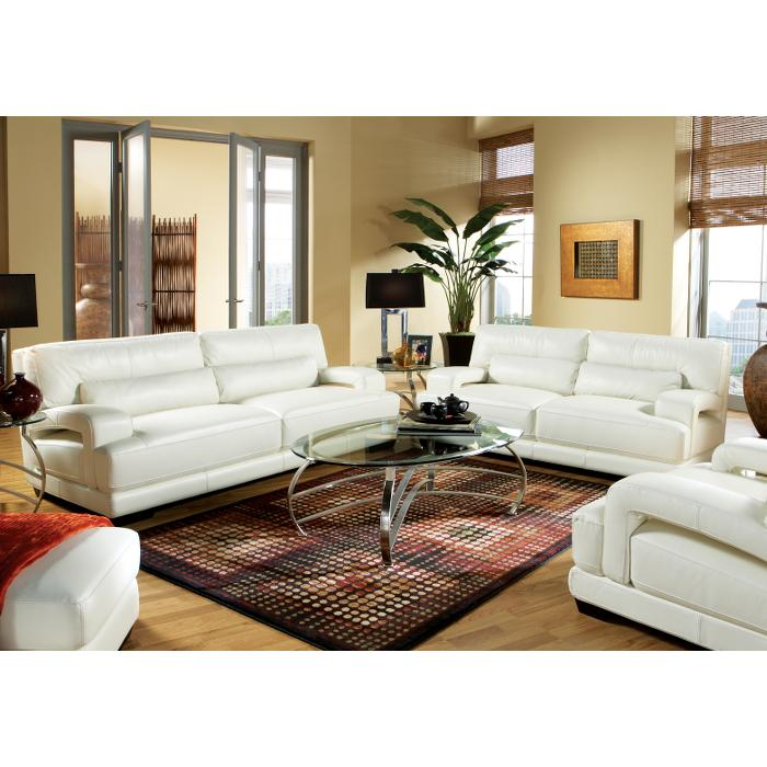 Cindy Crawford Home Bellamy Off White Leather 6 Pc Livingroom