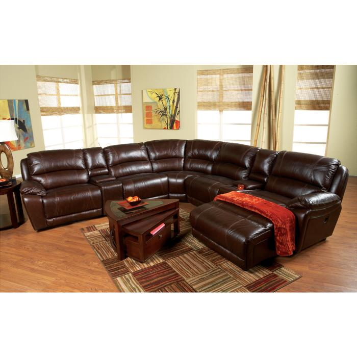 Cindy Crawford Home San Marco Brown Leather Match 7 Pc Sectional