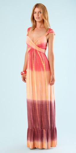 Cabana Coral Mai Tai Jersey Tie Dye Maxi Dress