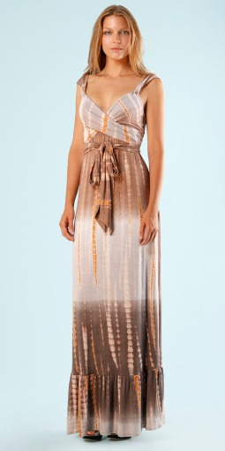 Cabana Neutral Mai Tai Jersey Tie Dye Maxi Dress