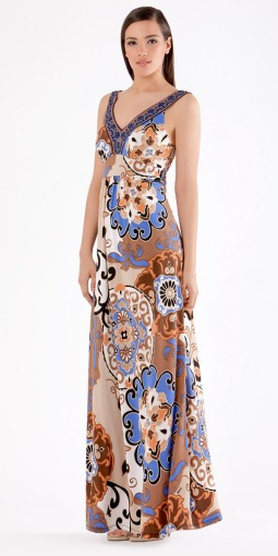 Vintage Blue-Brown Garden Party Maxi Dress