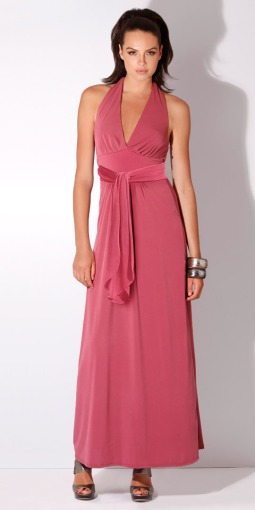 Vintage Rose Jersey Halter Maxi Dress