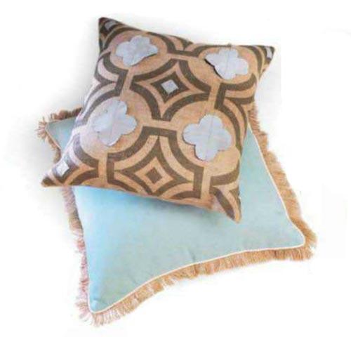 Interior design - Quaterfoil burlap and suede pillow