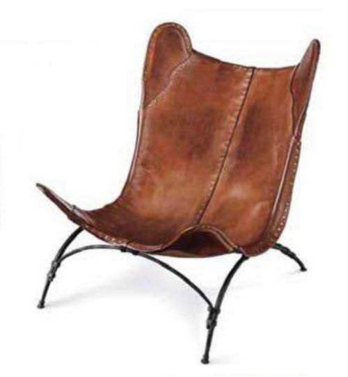 Safari Camp Chair crafted from heavy leather panels