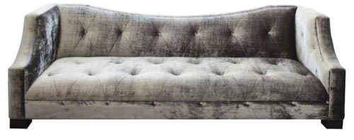Velvet Crush old oversized pintucked sofa