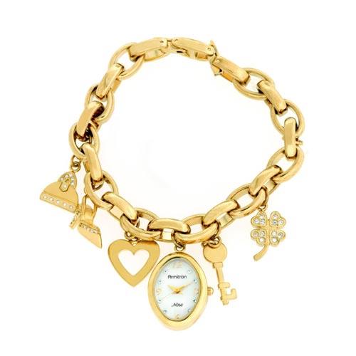 Women's gold heart charm bracelet watch - Bracelet - Watches - Women -
