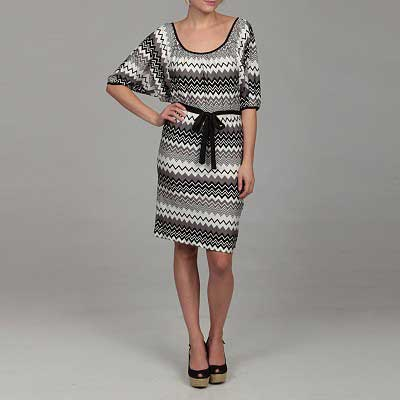 Jonathan-Martin-Women's-Black-Zig-Zag-Print-Dress