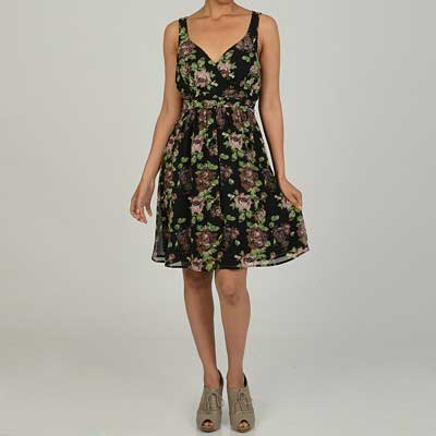 Jonathan-Martin-Women's-Black-and-Blush-Floral-Print-Dress