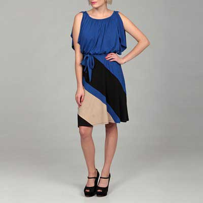 Jonathan-Martin-Women's-Colorblock-Flutter-SleeveDress