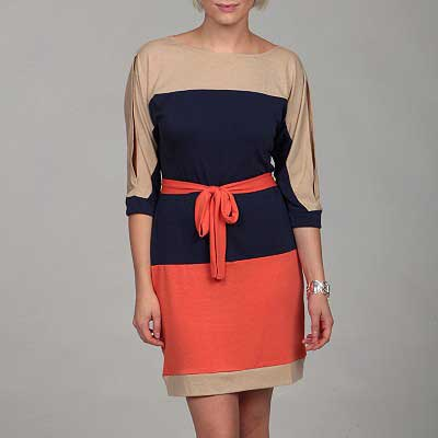 Jonathan-Martin-Women's-Colorblock-Tie-Dress