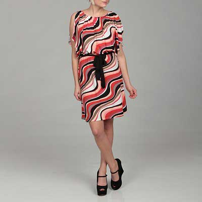 Jonathan-Martin-Women's-Coral-Abstract-Tie-Dress