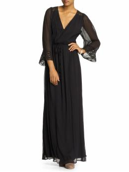 Long Sleeve Dresses, Drawstring Silk Maxi Dress
