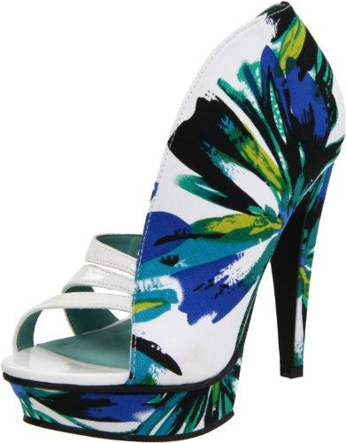 Michael Antonio Women's Floral Print Sandal Blue