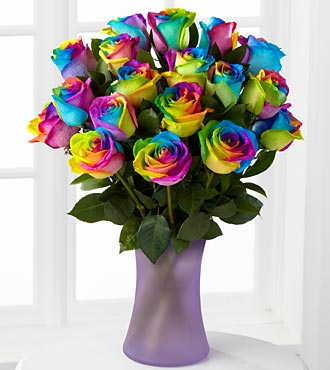 2012 Father's Day Gift-Time to Celebrate Rainbow Rose Bouquet
