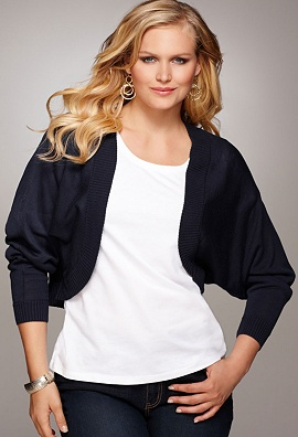 2012 Mother's Day Fashion Gifts-Avenue Plus Size Ribbed Cocoon Shrug