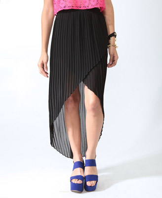 Pleated Wrap-Style Skirt