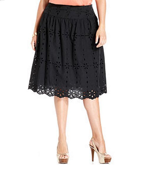 Jones-New-York-Signature-Plus-Size-Skirt,-Eyelet-A-Line