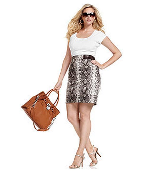 Michael-Kors-Plus-Size-Skirt-Snakeskin-Print-Pencil