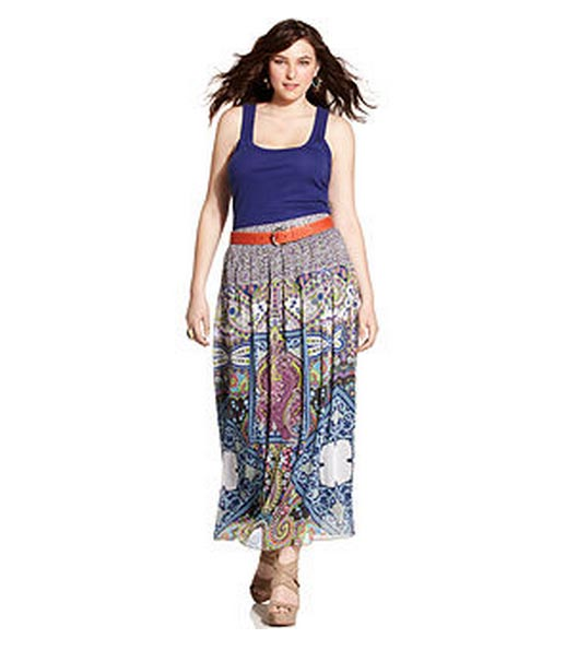 One-World-Plus-Size-Skirt,-Printed-Maxi