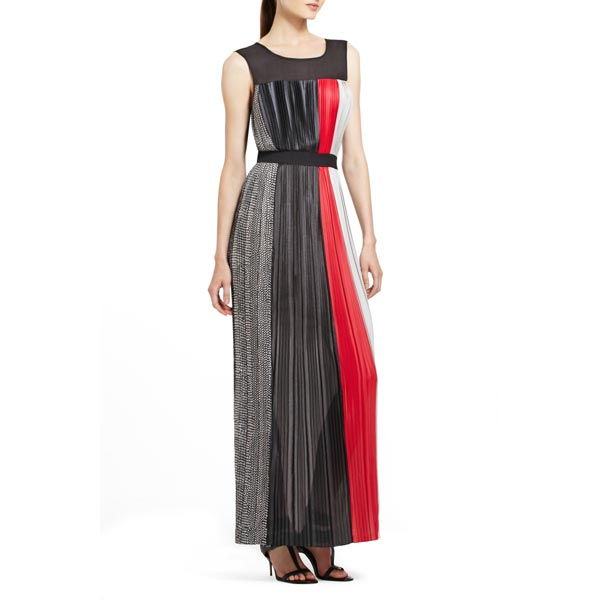 BCBG Women's Franca Color Blocked Pleated Maxi Dresses