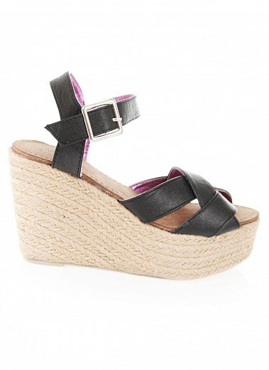 Bare Feet Shoes Crisscrossed Espadrille Wedges By Pink Duchess