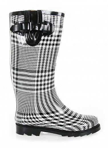 Bare Feet Shoes Plaid Houndstooth Rain Boots By Rasolli