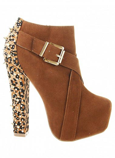 Bare Feet Shoes Spiked Leopard Heel Booties By Alba