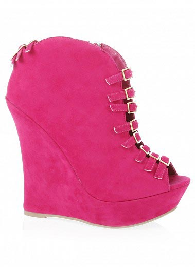 Bare Feet Shoes Strappy Buckled Wedge Booties By City Snappers