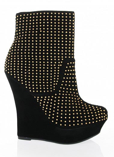 Bare Feet Shoes Studded Platform Wedge Booties By Alba