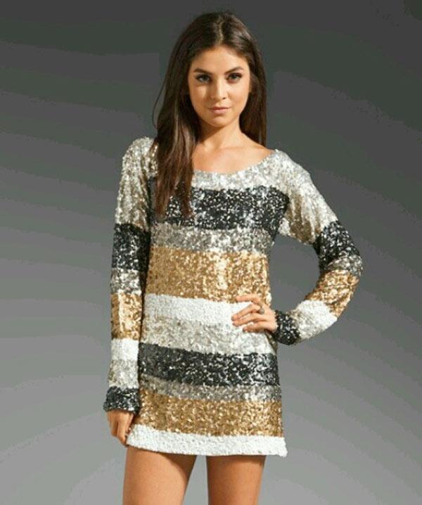 New Years Eve Dresses 2015, long sleeve sparkle dress