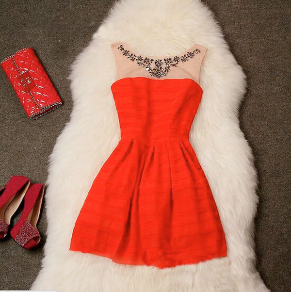 New Years Eve Dresses 2015, short red dress with white fur