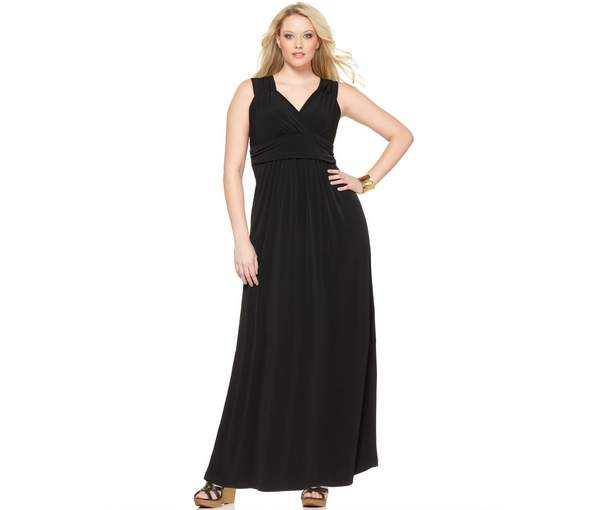 NY Collection Plus Size Sleeveless Ruched Empire-Waist Maxi Dress