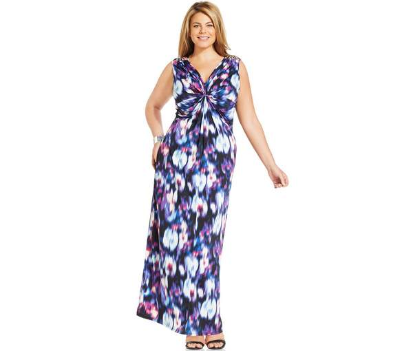 NY Collection Plus Size Twist-Front Printed Maxi Dress