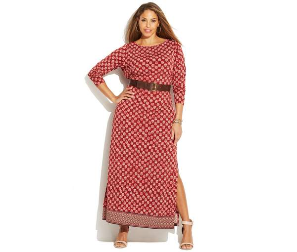MICHAEL Michael Kors Plus Size Printed Belted Maxi Dress