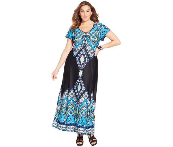 NY Collection Plus Size Short-Sleeve Printed Maxi Dress