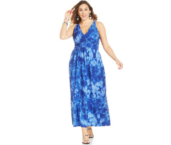 Stevie and Lindsay Plus Size Surplice Printed Maxi Dress