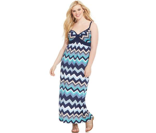 Love Squared Plus Size Braided-Strap Printed Maxi Dress