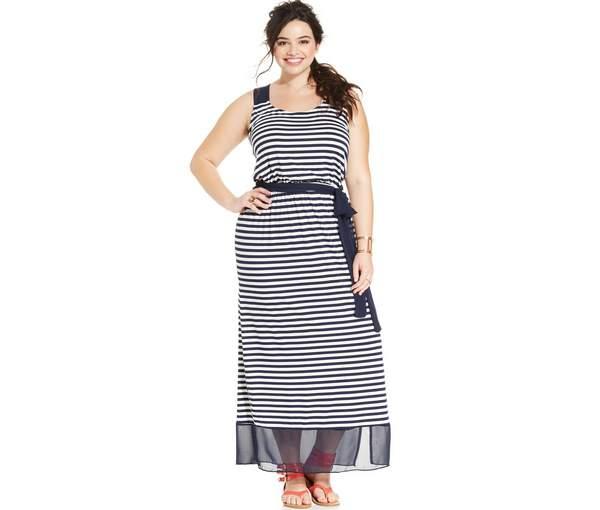 ING Plus Size Striped Illusion-Hem Racerback Maxi Dress