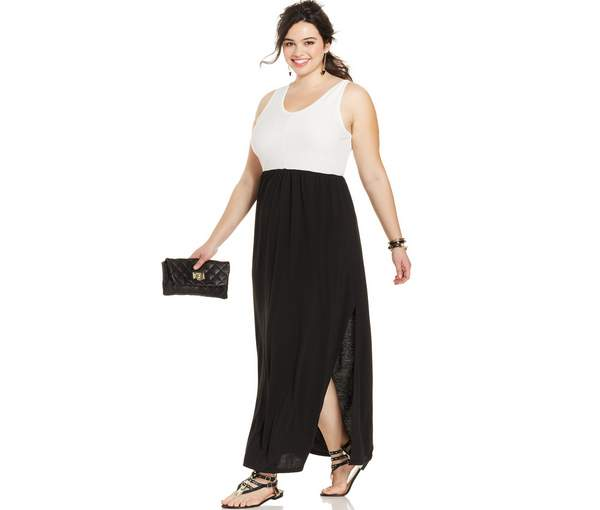 Extra Touch Plus Size Sleeveless Colorblocked Maxi Dress