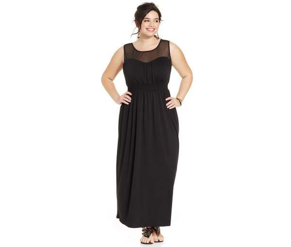 Love Squared Plus Size Cutout-Back Illusion Maxi Dress