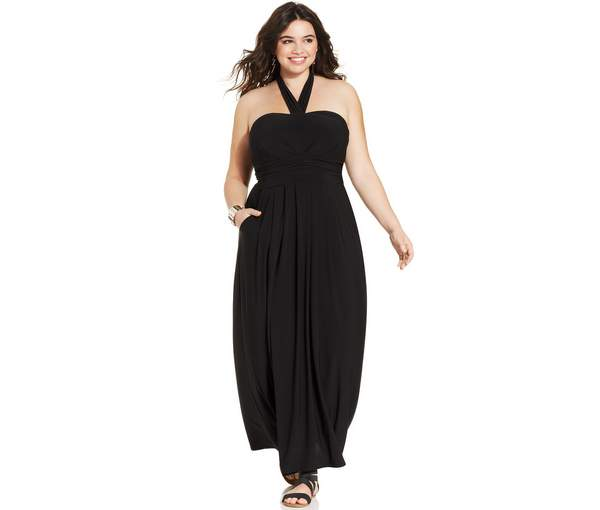 Love Squared Plus Size Pocketed Halter Maxi Dress