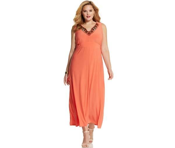 NY Collection Plus Size Sleeveless Beaded Maxi Dress