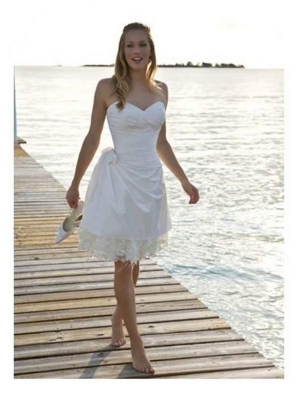 Short Lace Beach Wedding Dress