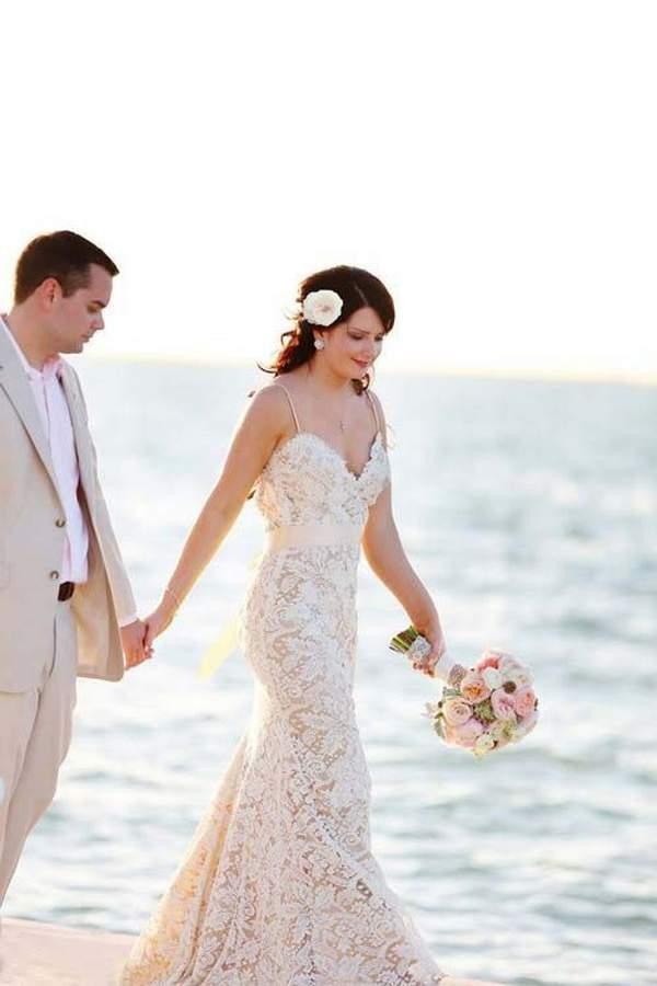 Simple Spaghetti White Lace Side Slit Beach Wedding Dress