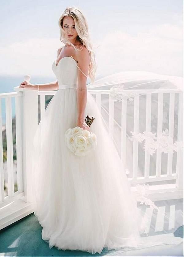 Spaghetti Strap a Line Wedding Dress
