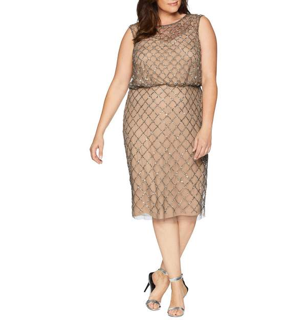 Adrianna Papell Plus Size Fully Beaded Cap Sleeve Cocktail Dress