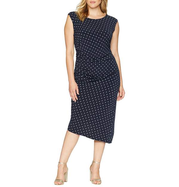 Plus Size Cap Sleeve Romantic Dots Side Ruched Dress