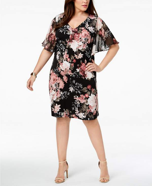 Plus Size Printed Flutter-Sleeve Dress